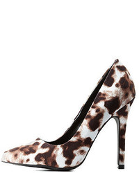 Qupid Leopard Print Single Sole Pointed Toe Pumps