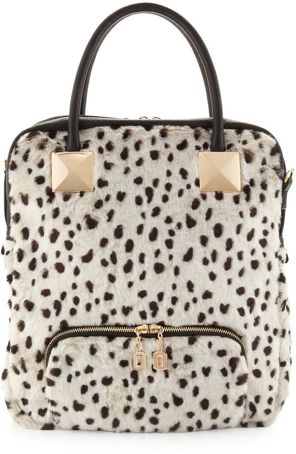 46ce4740ef Adrienne Landau Snow Leopard Faux Fur Tote Bag White