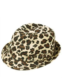 Amc Leopard Print Fedora Hat Beige Brown Color Cap