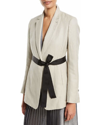 Brunello Cucinelli Cottonlinen Blazer Jacket W Tie Waist