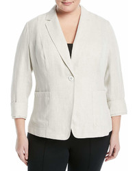 Lafayette 148 New York Plus Alba Linen Blazer Jacket