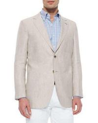 Solid linensilk sport jacket light gray medium 223806