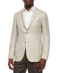 Two button blend linen blazer tan medium 223808