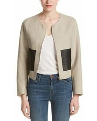 Sandro Virgie Linen Blend Leather Trim Blazer