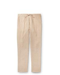 Loro Piana Slim Fit Linen Drawstring Trousers