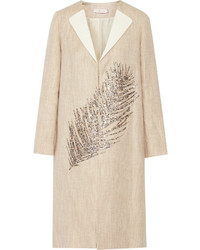 Tory Burch Ange Embellished Linen And Cotton Blend Coat
