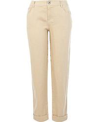 River Island Beige Linen Back Print Pants