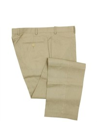 Joseph Abboud Flat Front Solid Tan Linen Dress Pants