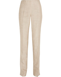 Oscar de la Renta Linen And Silk Blend Straight Leg Pants