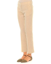 Giorgio Armani Linen Blend Lightweight Ankle Pants Beige