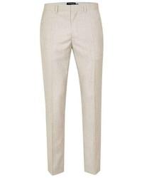 Topman Stone Crosshatch Skinny Fit Suit Pants