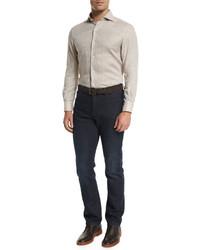 Ermenegildo Zegna Linen Long Sleeve Sport Shirt Beige