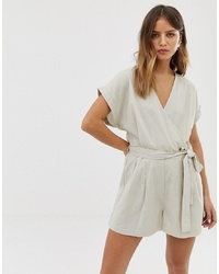 Noisy May Linen Button Detail Playsuit