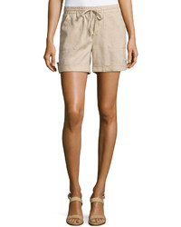 Neiman Marcus Cuffed Drawstring Linen Shorts Harvest Brown2
