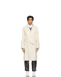 Maison Margiela Off White Linen Trench Coat