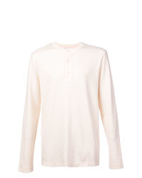 Beige Long Sleeve Henley Shirt