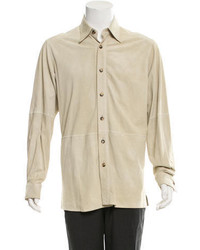 Brioni Perforated Suede Shirt Jacket