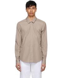Ermenegildo Zegna Couture Taupe Poplin Shirt