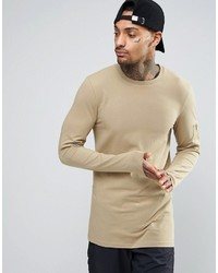 Asos Longline Muscle Long Sleeve T Shirt With Ma1 Pocket
