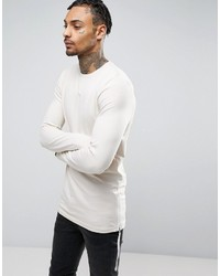 Asos Longline Muscle Long Sleeve T Shirt With Side Zips