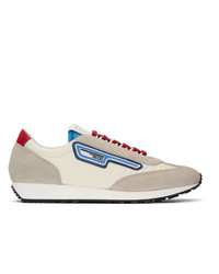 Prada Grey And Off White Sport Sneakers