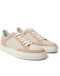 Brunello Cucinelli Leather Trimmed Suede And Ripstop Sneakers