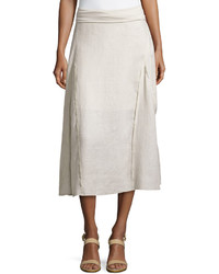 Neiman Marcus Exposed Seam High Low Maxi Linen Skirt Sand