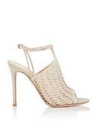 Gianvito Rossi Crochet Ankle Tie Sandals Colorless