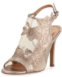 Kay Unger Justife Floral Leathermesh Sandal Pewter