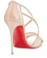 low priced b1be2 659dc Christian Louboutin Slikova Patent Mesh Red Sole Sandal Nude ...