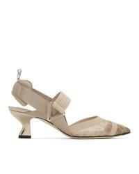 Fendi Pink Mesh Colibri Slingback Heels