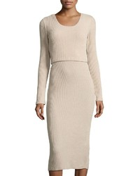 MinkPink Mink Pink Ribbed Popover Midi Dress Beige