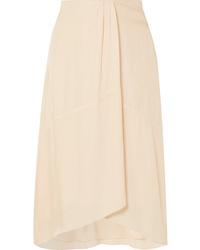 Vince Asymmetric Crepe Midi Skirt