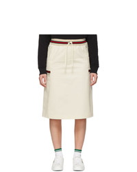 Gucci Off White Canvas Panama Skirt