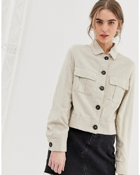 New Look Cropped Utility Jacket In Linen