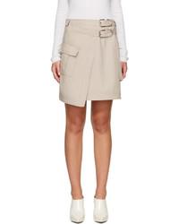 Beige asymmetric pocket miniskirt medium 3723578