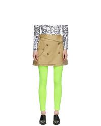 Junya Watanabe Beige Pleated Trench Skirt