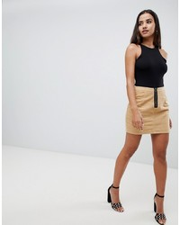 Missguided Cord Zip Front Mini Skirt