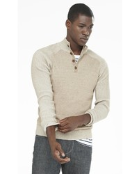 Express Button Mock Neck Plaited Sweater