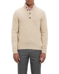 Malo Melange Mock Collar Sweater White