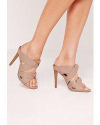 Missguided Twist Strap Slip On Heeled Mules Brown