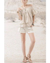 Moon River Beige Off Shoulder Top