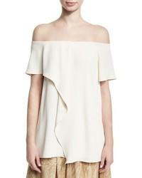 Heritage off the shoulder asymmetric draped top cream medium 3942968