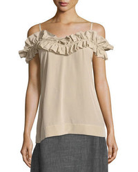 Trina Turk Ruffled Cold Shoulder Tank Top