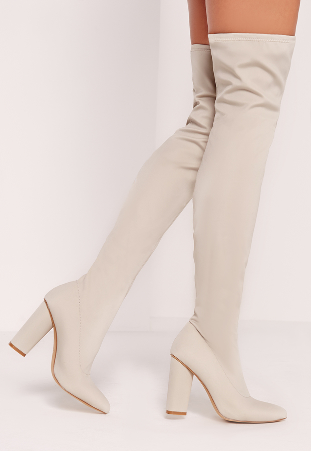 3f27797dfedb Missguided Pointed Toe Neoprene Over The Knee Boot Cream, $40 ...