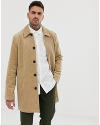 ASOS DESIGN Single Breasted Trench Coat In Cord In Stone