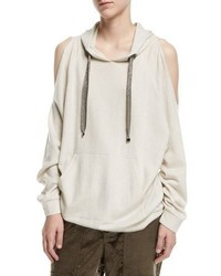 Brunello Cucinelli Cold Shoulder Cashmere Hoodie With Monili Drawstrings