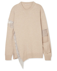 Christopher Kane Cutout Crystal Embellished Wool Sweater