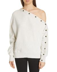 Rag & Bone Kate One Shoulder Button Sleeve Sweatshirt