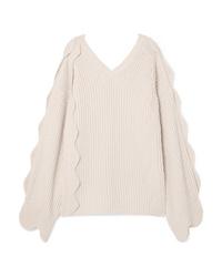Stella McCartney Oversized Scalloped Ribbed Cotton And Wool Blend Sweater